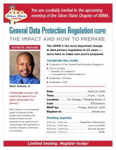 General Data Protection Regulation (GDPR); The Impact and How to Prepare @ NVEnergy | Las Vegas | Nevada | United States